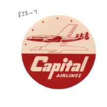 Collctable Vintage Airline luggage label Capital Airways  #833